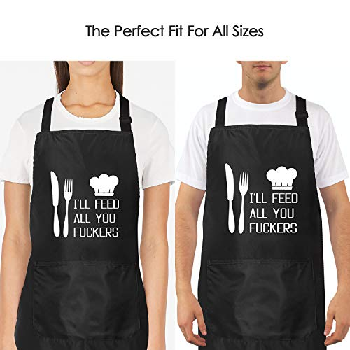 I'll Feed All You - Funny Apron for Men with 2 Pockets Adjustable Neck Strap 4