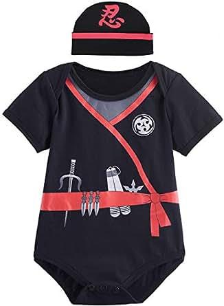 Mombebe Baby Boys' Ninja Bodysuit with Hat 0-3 Months