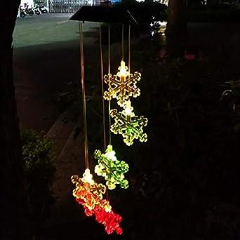 Copo de nieve LED Wind Chimes solar al balcón Habitación Niño Decoración Jardín Colgante Luz (Color : Snowflake): Amazon.es: Iluminación