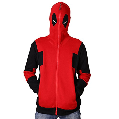 Coat Costumes Adult Red Soldier (Deadpool Hoodie Red Cotton Hooded Costume Sweatshirt Coat Jacket)
