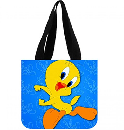 New Arrive Women Handbags Custom Cartoon Tweety Bird Blue Cute Canvas Tote Bag Shoulder Bag (Tweety Handbag)