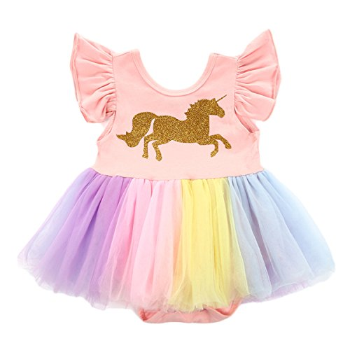 JiaDuo Baby Toddler Girls Unicorn Dress Mesh Tutu Skirt Party Costume Outfit Romper 12-18 Months]()