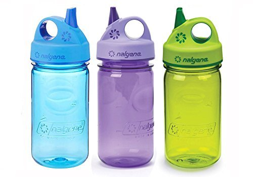 Nalgene Kids / Children's Grip-n-Gulp 12oz. Water Bottles, 3 Bottle Bundle Pack (Purple, Blue and Green)