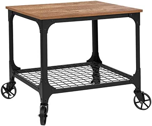 Taylor Logan Industrial Rustic Wood Grain Kitchen Bar Cart with Wire Rack Bottom