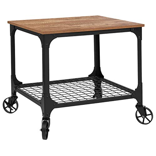Cart Open Wire (Taylor + Logan Industrial Rustic Wood Grain Kitchen Bar Cart with Wire Rack Bottom)