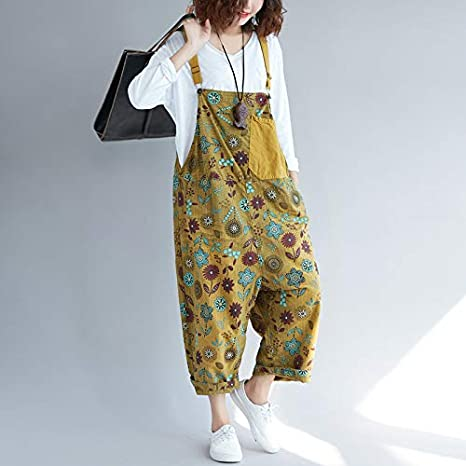 Womens Loose Baggy Cotton Wide Leg Jumpsuits Rompers Overalls Harem Pants Distressed
