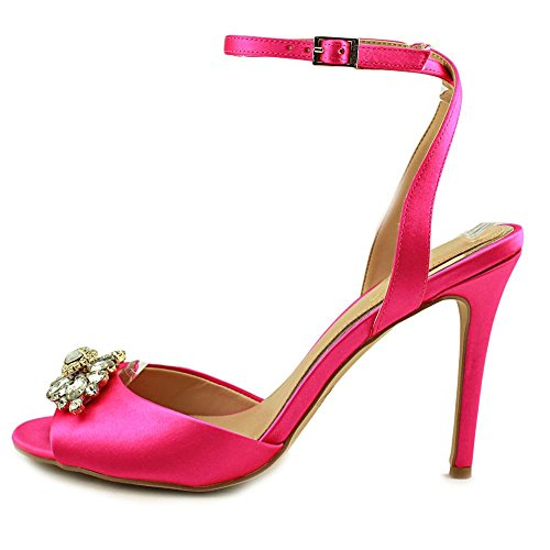 Badgley Mischka Womens Hayden Fabric Peep Toe Special Occasion Ankle Strap SA. Pink Sat J5GTO1iI