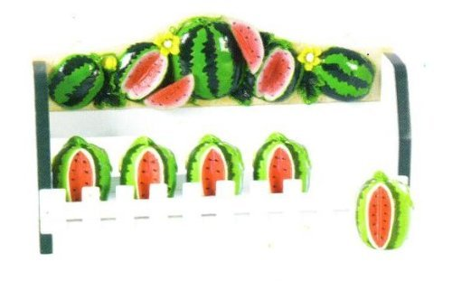 WATERMELON 3-D Wood Spice Rack & 5 Jars Set *NEW!*