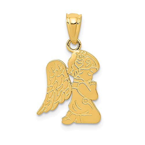 14k Yellow Gold Praying Angel Girl Pendant Charm Necklace Religious Fine Jewelry Gifts For Women For Her