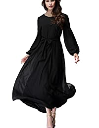 Kufv Women's Long Sleeve Boat Neck Muslim Slim Maxi Chiffon Dress with Belt