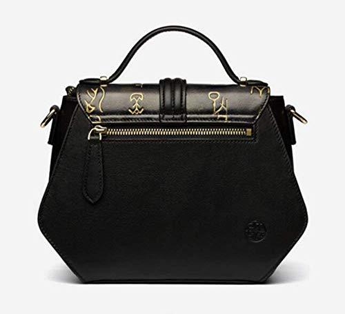 Luxury Bag Casual Cimic Leather Designer Women Crossbody Black Handbag Genuine Vintage Office Shoulder 6pYXwp