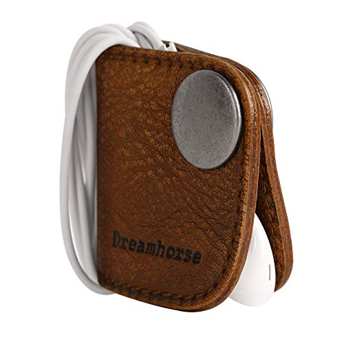 Cord Winder Cord Organizer Earbud Holder Earphone Wrap Earphone Organizer Headset Headphones Earphone Wrap Dreamhorse's Handmade Leather Protection Headphone Cable Pack of 2 Brown by DreamHorse (Image #2)
