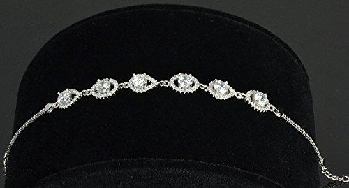 Argent sterling plaqué rhodium Blanc pavé d'oxydes de zirconium mauvais œil Bracelet à maillons, 7,5+ 2,5cm Ext