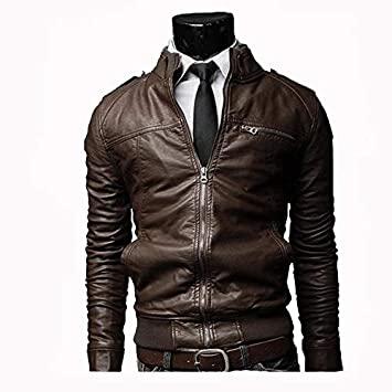 fd3ce51ac EVNGA Men S Leather Casual Business Suit Leather Jacket Washed ...