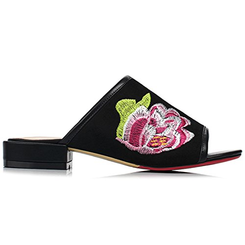 Slingback Peep with Toe Flowers Black Retro Shoes Ladies Summer Slippers Artfaerie Women's Sandals Flat IqPxgqwXt