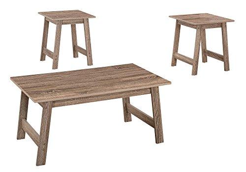 (Monarch Specialties I I 7931P Table SET-3PCS Set, Dark Taupe)