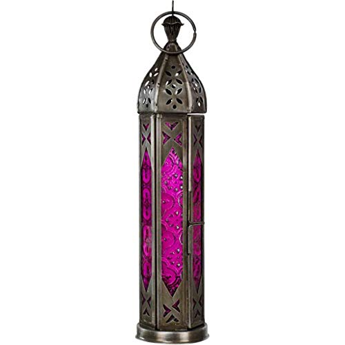 4Rissa Pink Tall Tower Moroccan Style Lantern Candle Holder Metal & Glass Hanging Decor Wedding Decoration