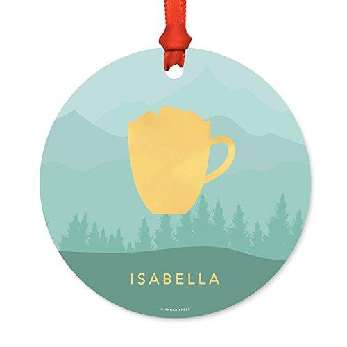(Andaz Press Personalized Family Christmas Ornament, Metal, Aqua Mountains Winter Wonderland Coffee Mug, 1-Pack, Custom, Includes Ribbon and Gift Bag)