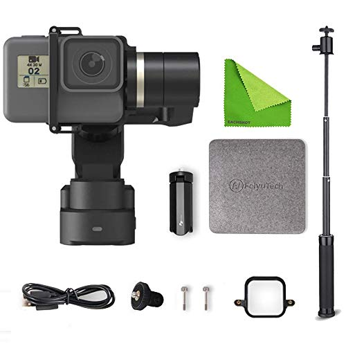 FeiyuTech Feiyu WG2X 3-axis Wearable Gimbal Splash-Proof Stabilizer for GoPro Hero 7/6 / 5/4 / Session/YI 4K / SJCAM AEE and Similar Size Action Camera with EACHSHOT Cleaning Cloth