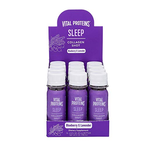 Vital Proteins Collagen Dietary Supplement Shot, 12 ct Sleep Shot, 1mg of Melatonin, 200mg GABA, 200mg of Magnesium – Help Support a Healthy Night's Sleep, Blueberry & Lavender