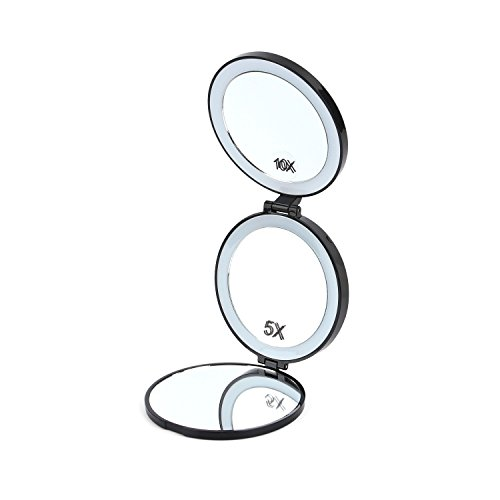 Lighted Makeup Mirror, Yacig Foldable LED 1X/5X/10X Magnifying Travel Mirror, Handheld Compact Size and Light Weight, with Brightness Adjustable and Smooth White Led Band Light – Black (Mirror Compact Magnifying 5x)