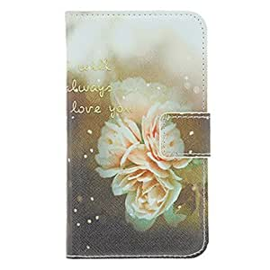 PEACH-Love Flower Painting Pattern Faux Leather with Plastic Hard Back Cover Pouches for Samsung Galaxy S3 I9300