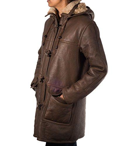 Marrones para mujer de invierno de la piel de oveja de piel de oveja real capa de lona de cuero