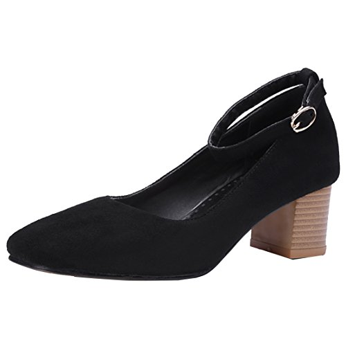 AIYOUMEI Damen Geschlossen Knöchelriemchen Pumps mit Schnalle und 5cm Absatz Blockabsatz High Heel Bequem Wildleder Schuhe TmRFJkYa