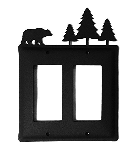 Modern Outlet Cover (Iron Bear Moose Double Modern Outlet Cover - Heavy Duty Metal Light Switch Cover, Electrical Outlet Covers, Lightswitch Covers, Wall Plate Cover)