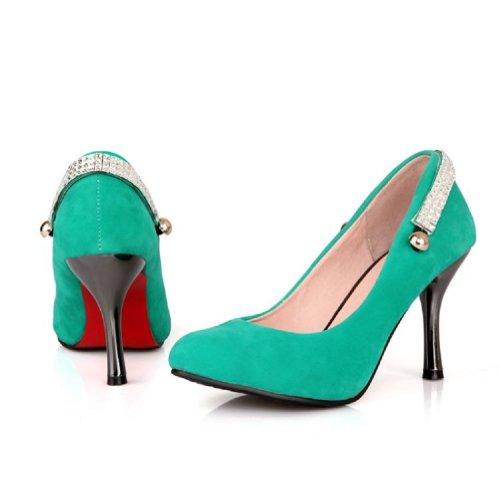 Carol Scarpe Donna Basic Classico Tacco Alto Stiletto Mary Jane Pumps Scarpe Verde