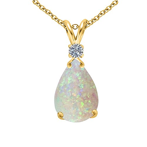 Voss+Agin Genuine Opal and Diamond Pear Drop Pendant, 10x7mm, in 14K Yellow Gold Over Sterling Silver, 18'' ()