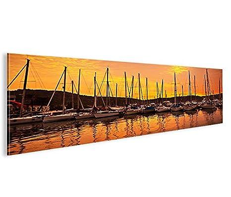 Quadro moderno Barcos a vela V4 Panorama Impresión sobre ...