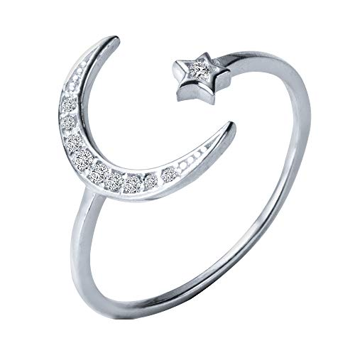 Dainty Star and Crescent Moon Open Ring 925 Sterling Silver for Women Teen Girls CZ Crystal Eternity Rings Expandable Band