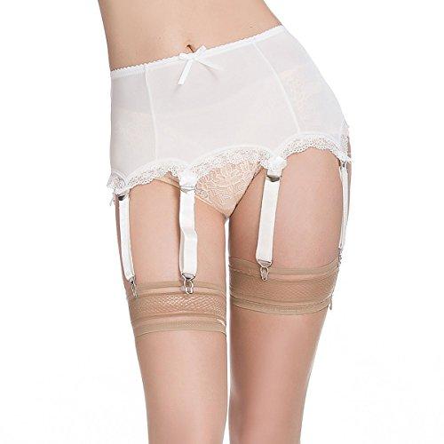 f1c3a140e75 Galleon - LIXFDT Women s Ivory Vintage Garter Belt 6 Straps Metal Clip  Suspender Belt For Thigh High Stocking