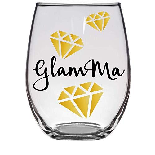 Gift for Grandma - Glamma Glam-ma - Premium 21oz Stemless Wine Glass