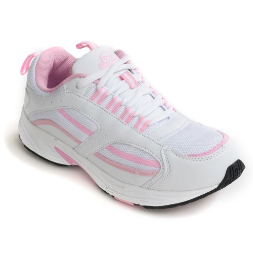Dr Zen Lori Women's Therapeutic Diabetic Extra Depth Shoe: White/Pink 10.0 Medium (B-D) Lace by Dr. Zen