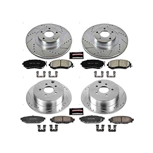 For Mercedes Benz S350 SL500 Rear Drilled Slotted Brake Rotors /& Ceramic Pads