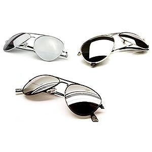 TronStore 3-Pack Combo Premium Silver Gold Black Mirrored Classic Teardrop Aviator Air Force Pilot Metal Frame Sunglasses