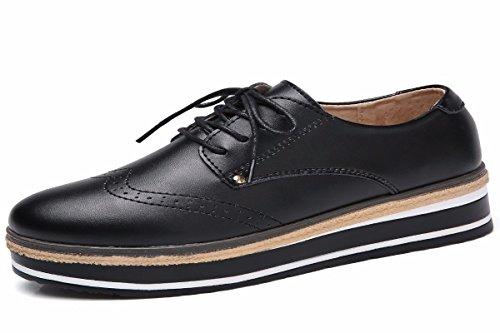 HBDLH Zapatos de Mujer/La Primavera De Fondo Grueso Bizcocho Más Zapatos Zapatos De Mujer Cuero Casual Estilo Británico Zapatos De Suela Plana.Treinta Y Siete Black Thirty-nine
