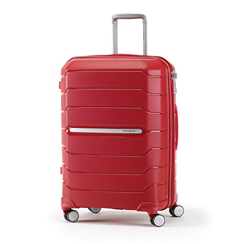 Samsonite Freeform Hardside Expandable with Double Spinner Wheels, Red, Checked-Large 28-Inch