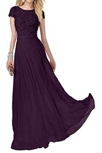 Festlich Abendkleider Abiballkleider Spitze Kurzarm Lang Rosa Charmant Ballkleider Damen Traube Promkleider fwXRqX5CPx