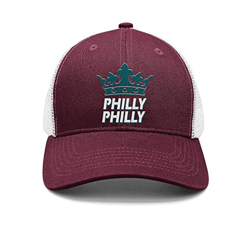 SSIZER Unisex Maroon Hip-Hop Cap for Mens Womens Philly-Philly-Philadelphia-Crown- Adjustable Caps ()