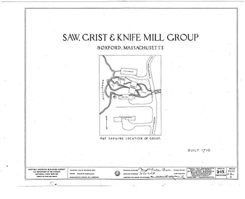 Blueprint Diagram HABS Mass,5-Box,2- (Sheet 0 of 5) - Saw, Grist & Knife Mill Group, Middleton Road, Boxford, Essex County, MA 44in x 32in (Knives Middleton)