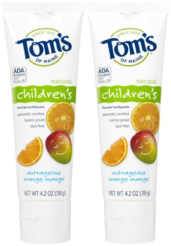 Tom's of Maine Anticavity Fluoride Children's Toothpaste, Outrageous Orange-Mango - 4.2 oz - 2 pk (Anticavity Maine Toms Toothpaste Of)