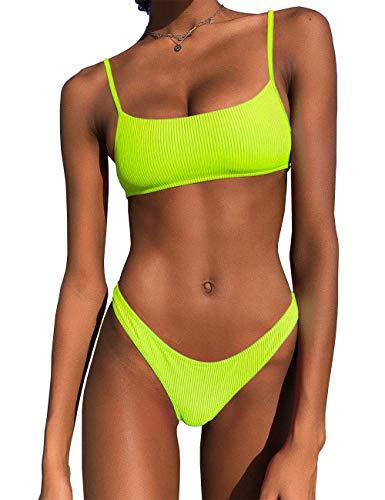 IBIZA VIBE Bikini Set Ribbed Neon Scoop Crop Top High Cut Sexy 2 Piece Brazilian Sporty Swimsuits for Women (Yellow, S(US0-2))