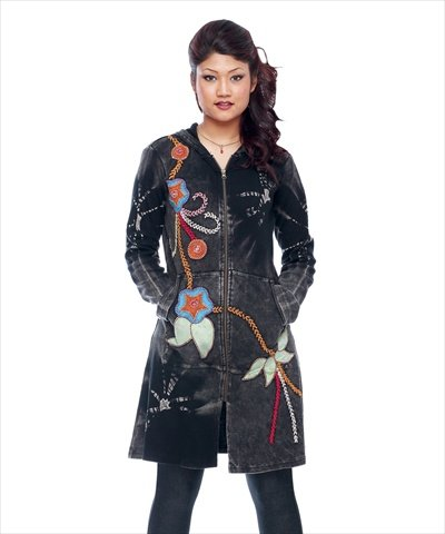 rising-international-inc-womens-flower-chain-long-jacket-xl-black