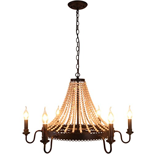 wood bead chandelier - 7