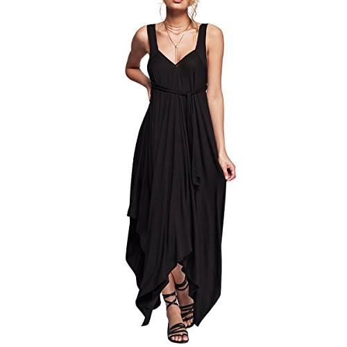 CA Mode Women V-neck Open Back Cotton Evening Party Beach Maxi Dress Asymmetric Hem hot sale