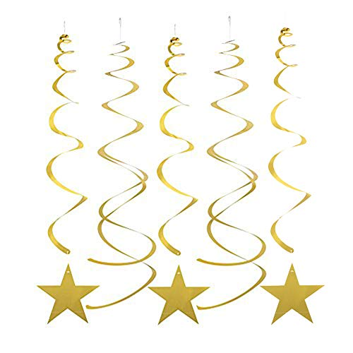 - MOWO Gold Star Hanging Swirl Decorations for Ceiling, Pack of 30