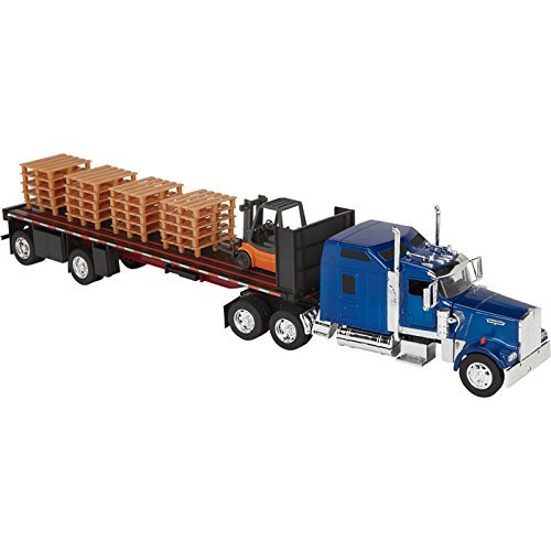 Die-Cast Truck Replica - Kenworth W900 Flatbed with Forklift, 1:32 Scale, Model# SS10263A